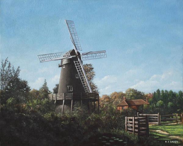 Wall Art - Painting - Southampton Bursledon Windmill by Martin Davey
