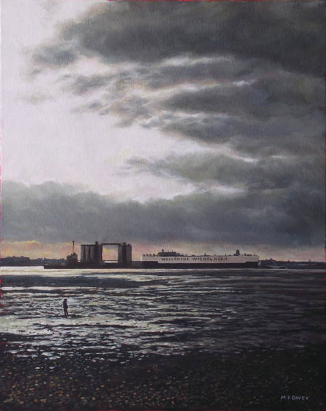 Wall Art - Painting - Southampton Docks From Weston Shore Winter Sunset by Martin Davey