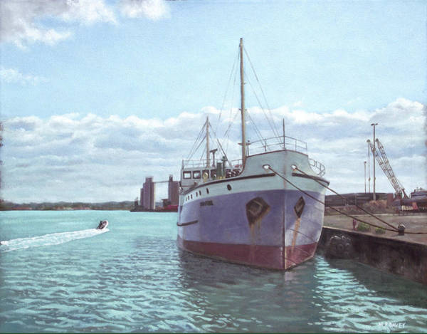 Wall Art - Painting - Southampton Docks Ss Shieldhall Ship by Martin Davey