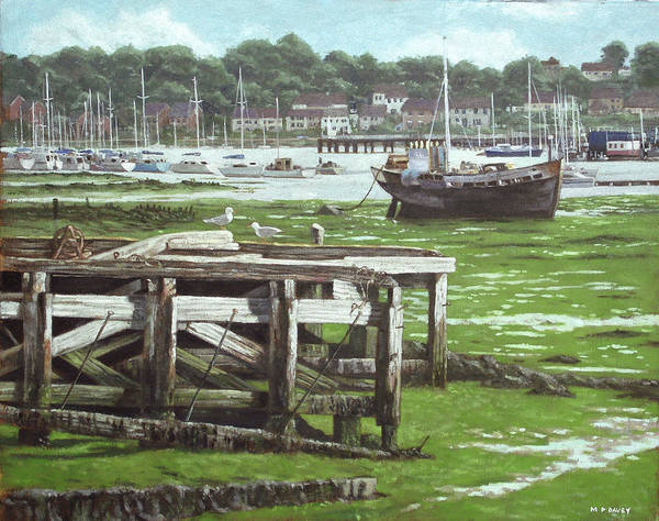 Wall Art - Painting - Southampton Northam River Itchen Mudflats by Martin Davey