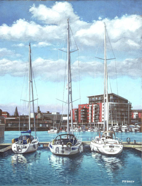 Wall Art - Painting - Southampton Ocean Village Marina by Martin Davey