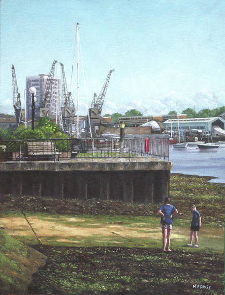 Wall Art - Painting - Southampton River Itchen Chapel Tredegar Wharf by Martin Davey