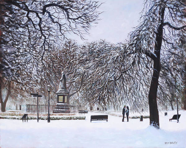 Painting - Southampton Watts Park In The Snow by Martin Davey