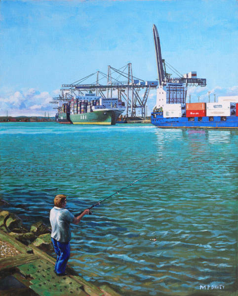 Wall Art - Painting - Southampton Western Docks Container Terminal As Seen From Marchwood by Martin Davey