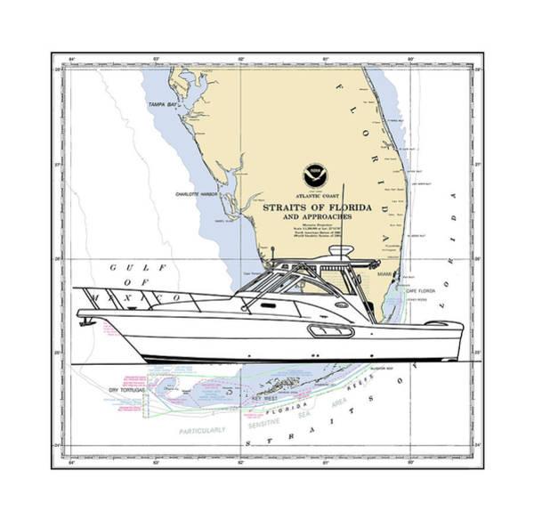 Fast Mixed Media - Yacht On Key West Chart by Jack Pumphrey