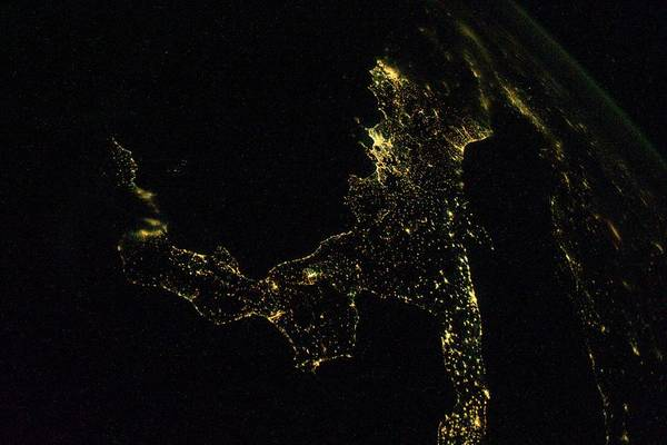 International Space Station Photograph - Southern Italy At Night From Space by Nasa/science Photo Library