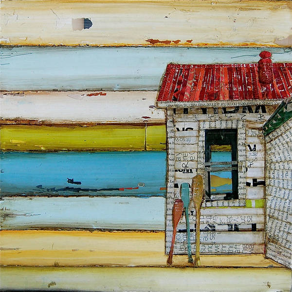 Oars Wall Art - Mixed Media - Southern Maine Beach Shack by Danny Phillips