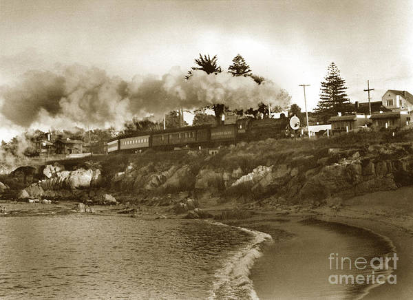 Photograph - Southern Pacific Del Monte Passenger Train Pacific Grove Circa 1954 by California Views Archives Mr Pat Hathaway Archives