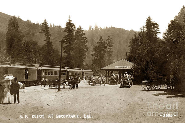 Photograph - Southern Pacific Depot At Brookdale Santa Cruz Co. Cal. Circa 1910 by California Views Archives Mr Pat Hathaway Archives