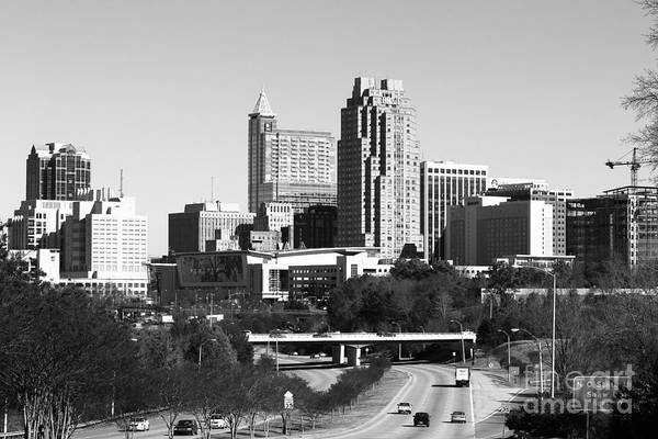 Nc State Wall Art - Photograph - Southern View Of Raleigh Nc Bw by Robert Yaeger