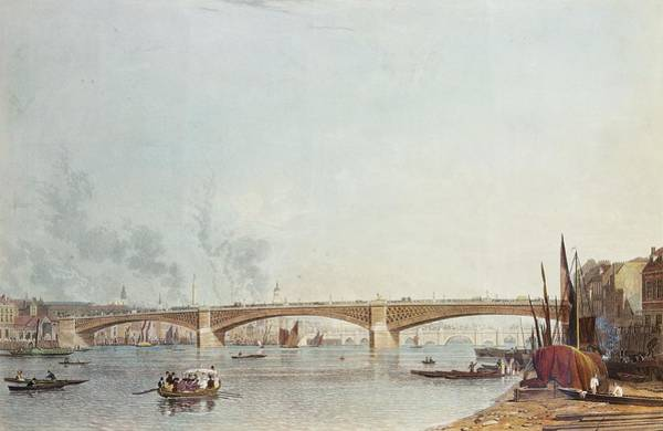 Rowing Wall Art - Photograph - Southwark Bridge, West Front, From Bankside, Looking Towards London Bridge Colour Litho by English School