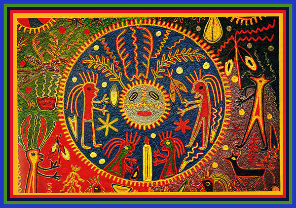 Tribal Digital Art - Southwest Huichol Del Sol by Vagabond Folk Art - Virginia Vivier