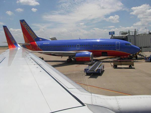 Lax Digital Art - Southwest Jet On The Tarmac by Russell Einhorn