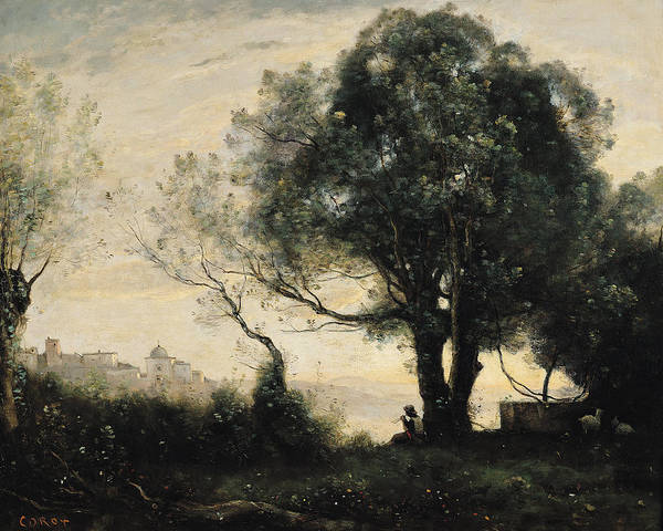 Shepherds Photograph - Souvenir Of Castel Gandolfo Oil On Canvas by Jean Baptiste Camille Corot