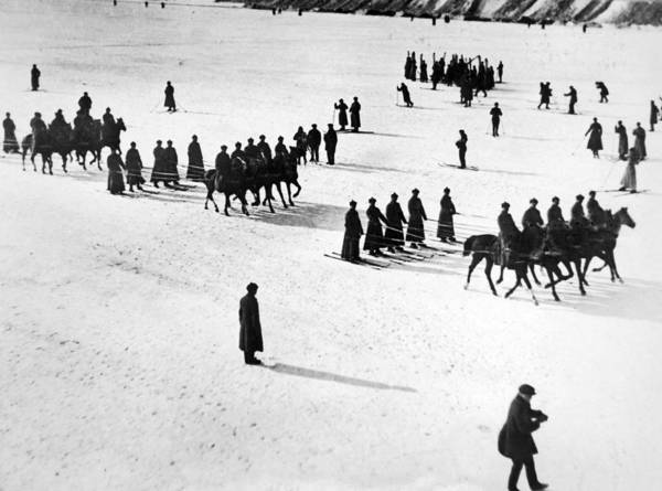 Soviet Union Photograph - Soviet Soldiers Skijoring by Underwood Archives