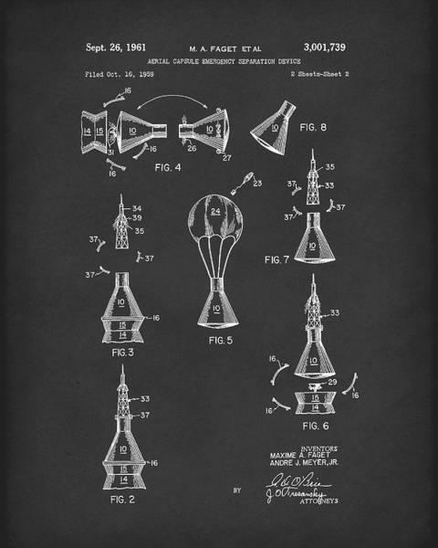 Drawing - Space Capsule 1961 Mercury Patent Art  Black by Prior Art Design