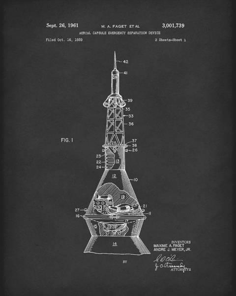 Drawing - Space Capsule 1961 Patent Art Mercury  Black by Prior Art Design