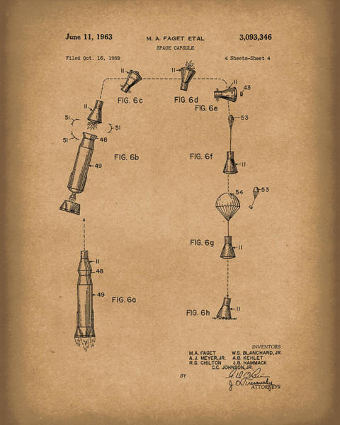 Drawing - Space Capsule 1963 Patent Art Brown by Prior Art Design