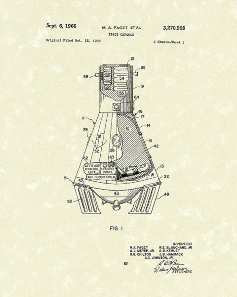 Drawing - Space Capsule 1966 Patent Art  by Prior Art Design