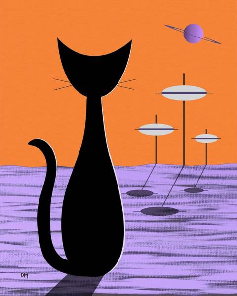 Extraterrestrial Digital Art - Space Cat Orange Sky by Donna Mibus