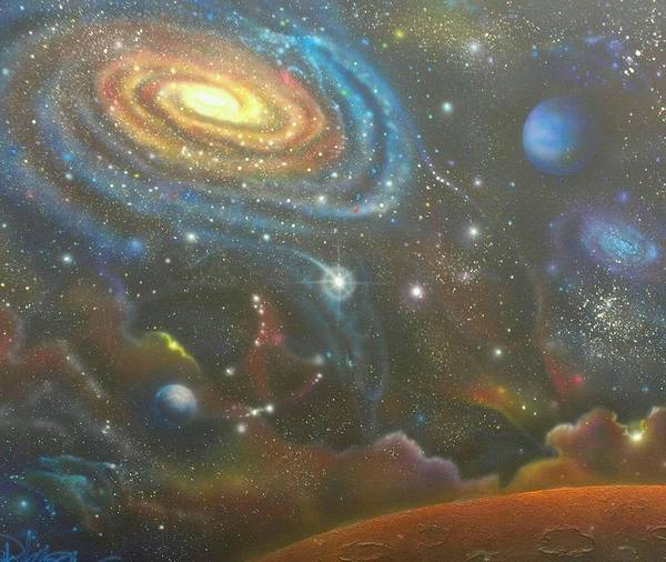 Cosmos Painting - Space Dolphins by Darren Robinson