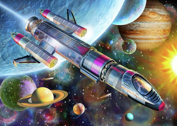 Rocket Painting - Space Explorer by MGL Meiklejohn Graphics Licensing