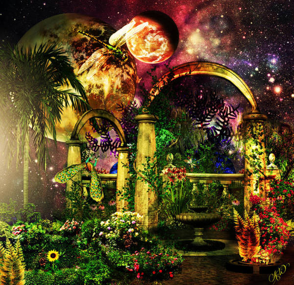 Space Mixed Media - Space Garden by Ally  White