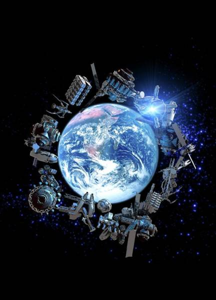 Object Digital Art - Space Junk, Conceptual Artwork by Victor Habbick Visions