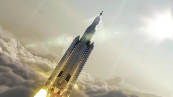 Space Launch System Launch Art Print by Nasa/msfc