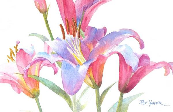 Wall Art - Painting - Space Mountain Lilies by Pat Yager