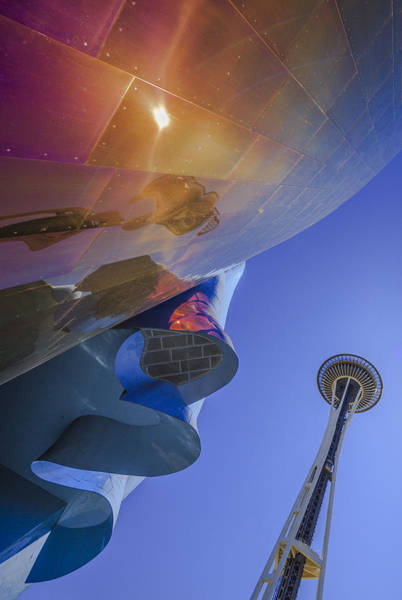 Photograph - Space Needle And Emp In Perspective Non Hdr by Scott Campbell