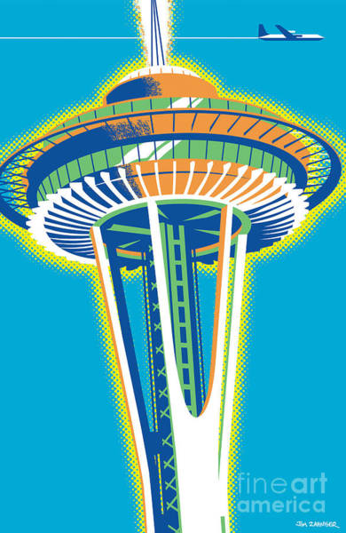 Vintage Poster Digital Art - Space Needle Pop Art by Jim Zahniser