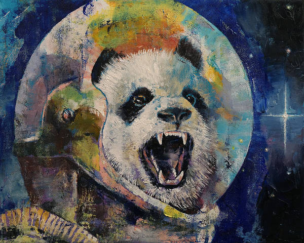 Hallucination Painting - Space Panda by Michael Creese