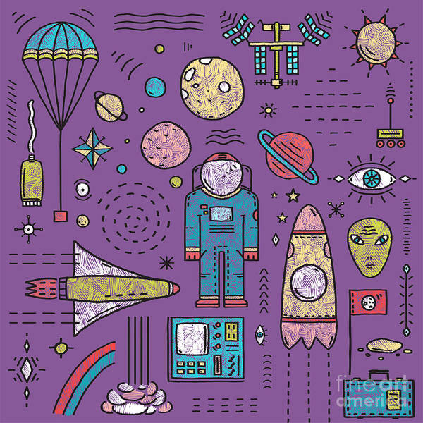 Astronaut Digital Art - Space Planets Stars Cosmonaut Design by Popmarleo