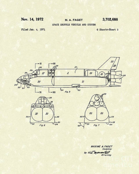 Vehicle Drawing - Space Shuttle 1972 Patent Art by Prior Art Design