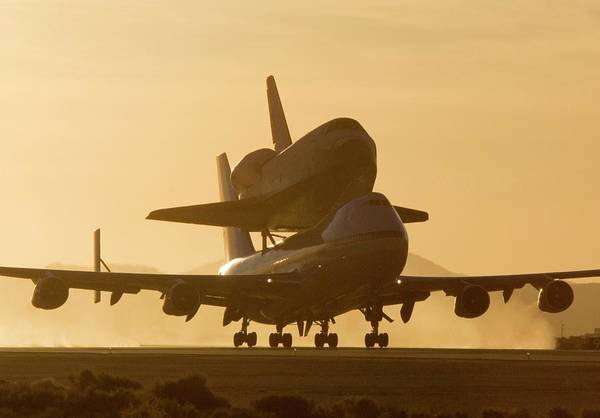 Space Shuttle Photograph - Space Shuttle Atlantis On A Boeing 747 by Nasa/dfrc/science Photo Library