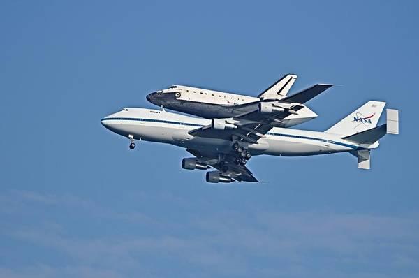 Photograph - Space Shuttle Atlantis Piggybacked On 747 by Bradford Martin