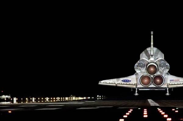 Landing Gear Photograph - Space Shuttle Landing At Night by Nasa/science Photo Library