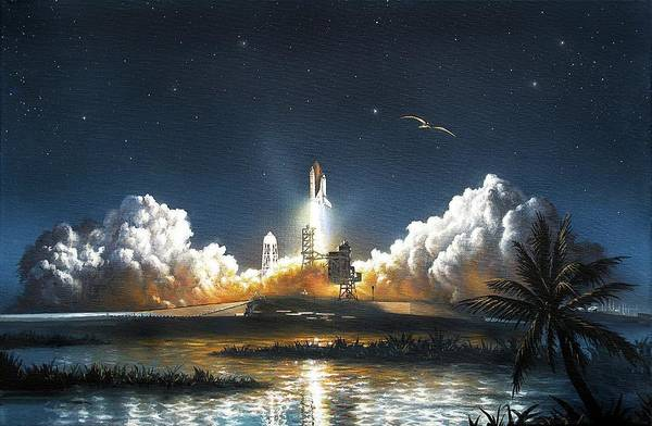 Space Shuttle Photograph - Space Shuttle Launch by David A. Hardy