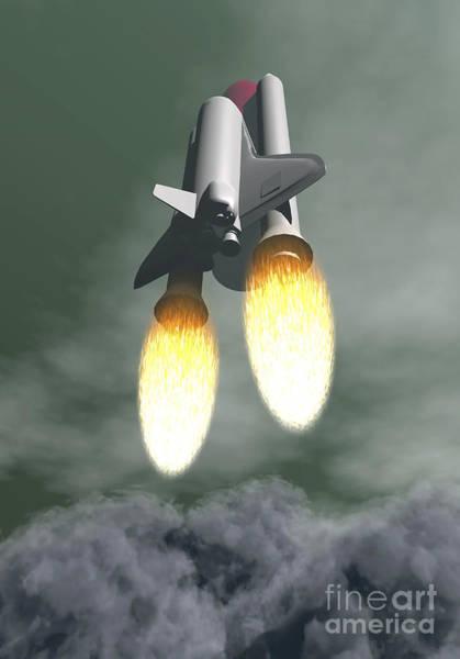 Exhaust Digital Art - Space Shuttle Taking Off Amongst Grey by Elena Duvernay