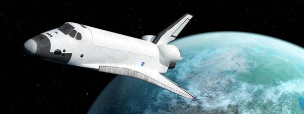 Wall Art - Photograph - Space Shuttle With Distant Planet by Sciepro/science Photo Library