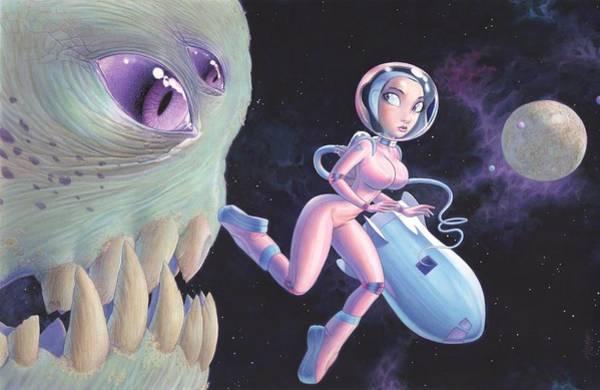 Googie Wall Art - Painting - Space Walk by Richard Moore