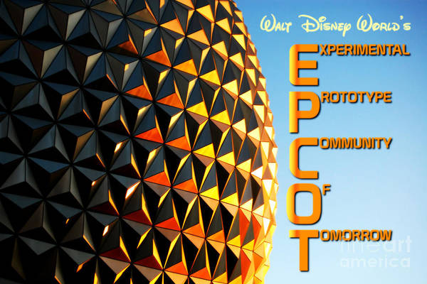 Disney World Digital Art - Spaceship Earth Sunset Profile Epcot Walt Disney World Poster Vivid by Shawn O'Brien