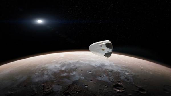 Spacex's Red Dragon At Mars Art Print by Spacex/science Photo Library