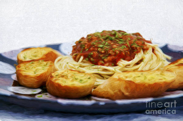 Mixed Media - Spaghetti And Garlic Toast 3 by Andee Design