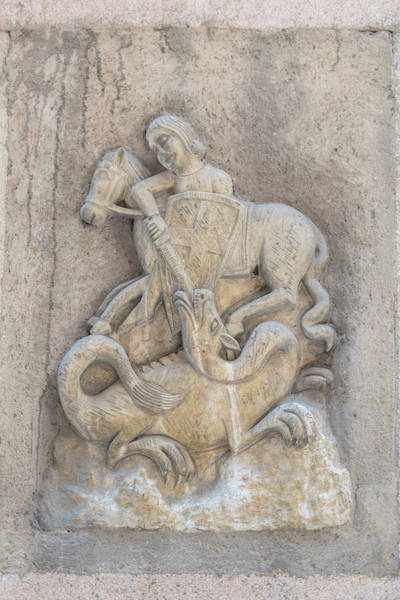Carving Photograph - Spain, Barcelona, Relief Sculpture Of St by Jim Engelbrecht