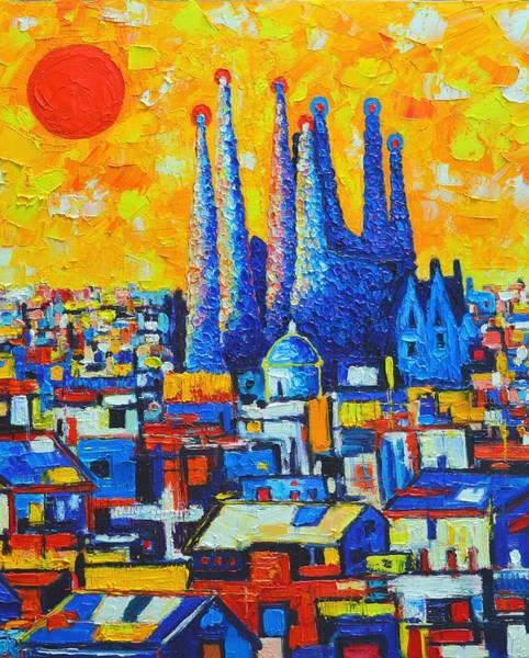 Painting - Spain - Barcelona Sunset - Sagrada Familia by Ana Maria Edulescu