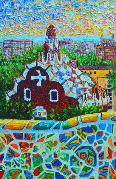 Painting - Spain - Barcelona View From Gaudi Park by Ana Maria Edulescu