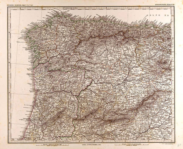 Wall Art - Drawing - Spain Map 1872 Gotha Justus Perthes 1872 Atlas by Spanish School