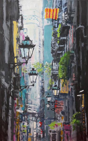 Lamps Painting - Spain Series 03 Barcelona by Yuriy Shevchuk